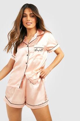 boohoo Sleep' Embroidered Satin Pyjama Short Set