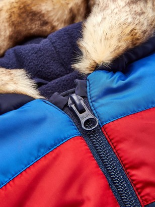 Very Baby Boys Faux Fur Trim Hood Snowsuit- Navy