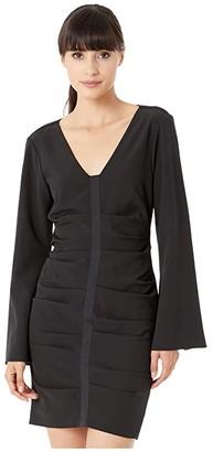 Nicole Miller Scuba Crepe Bell Sleeve Dress (Black) Women's Dress