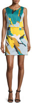 Milly Sleeveless Modern Camo-Print Dress, Multi Colors