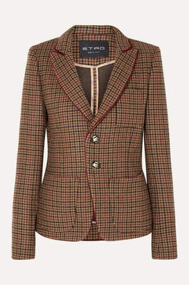 Etro Houndstooth Wool-blend Blazer - Light brown