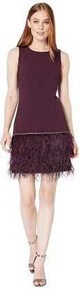 Tahari ASL Sleeveless Stretch Crepe Cocktail Dress with Feather Hemline (Aubergine) Women's Clothing