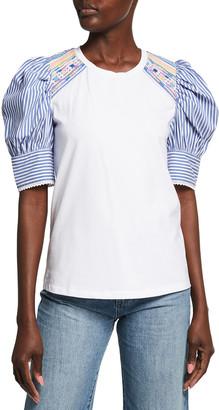 Tanya Taylor Maddie Embellished Stripe-Sleeves Top