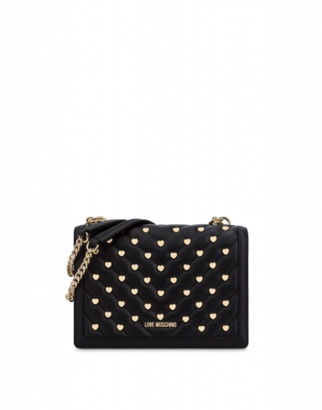 Love Moschino Shoulder Bag With Heart Studs Woman Black Size U It - (one Size Us)