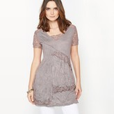 Anne Weyburn Crinkled Jersey & Lace Tunic