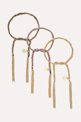 Carolina Bucci Lucky Set Of Three 18-karat Gold And Silk Bracelets
