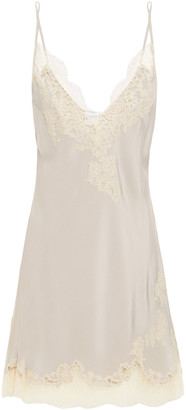 Carine Gilson Lace-trimmed Silk Crepe De Chine Chemise