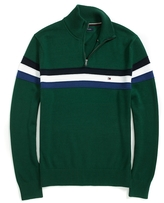 Tommy Hilfiger Stripe Half Zip Mock Sweater