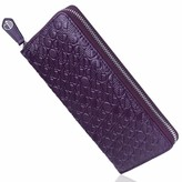 Drew Lennox Luxury English Leather Ladies 12 Card Zip Around Purse & Wallet In Majestic Purple