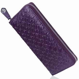 Luxury English Leather Ladies 12 Card Zip Around Purse & Wallet In Majestic Purple