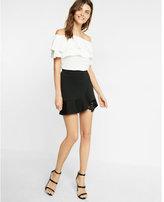 Express high waisted lace underlay flippy skirt