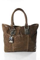 Donna Karan Brown Leather Leo Tote Handbag