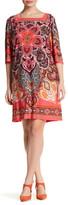 Sandra Darren Printed Square Neck Dress (Plus Size)