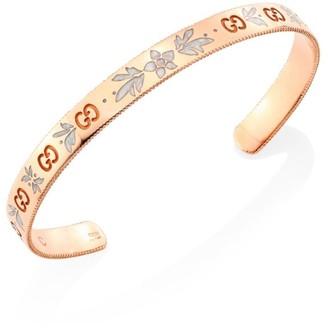 Gucci Icon Blossom 18K Rose Gold & Enamel Bangle Bracelet