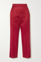 Max Mara Olindo Wool And Silk-blend Satin Straight-leg Pants