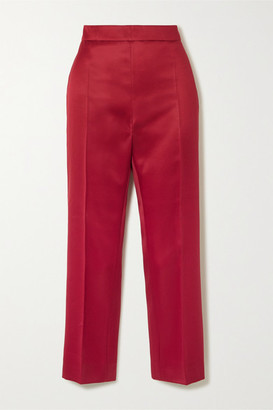 Max Mara Olindo Wool And Silk-blend Satin Straight-leg Pants - Red