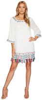 Romeo & Juliet Couture Embroidered Dress with Fringe On Bottom Hem
