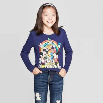 Mickey Mouse & Friends Girls' Mickey Mouse & Friends Rainbow Long Sleeve T-Shirt - Navy