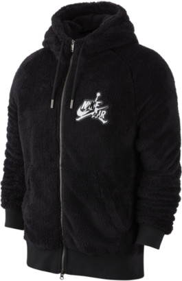 Jordan Wings Sherpa Full-Zip Hoodie Sweatshirt - Black