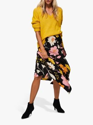 Selected Cadence Floral Midi Skirt, Black