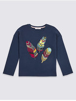 Marks and Spencer Cotton Rich Feather Sweatshirt