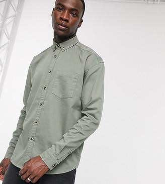 Asos DESIGN Tall oversized fit organic denim shirt in sage green