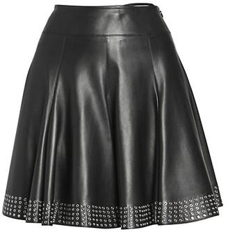 Alaia Leather Studded A-Line Skirt