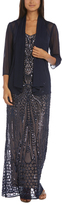 R & M Richards Navy & Nude Embellished Gown & Open Cardigan - Plus Too