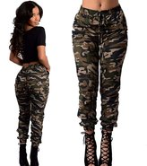 Bemall Women's Fashion Camouflage Print Casual Pencil Pants Sexy Pants(S-2)
