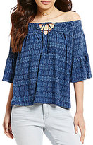 William Rast Gigi Convertible Off-The-Shoulder Tie-Neck Bell-Sleeve Printed Knit Top