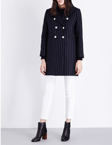 Sandro Gaby double-breasted pinstripe wool-blend coat