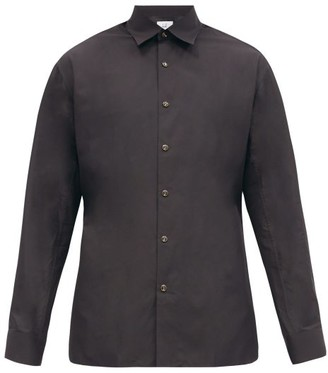 Dunhill Logo-button Side-slit Cotton-poplin Shirt - Black