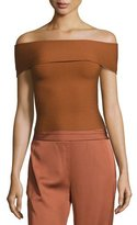 Elizabeth and James Dominique Off-the-Shoulder Ribbed Top, Cinnamon