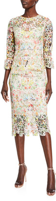 Monique Lhuillier Paradise-Print 3/4-Sleeve Dress