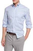 Brunello Cucinelli Basic-Fit Check Sport Shirt, Light Blue