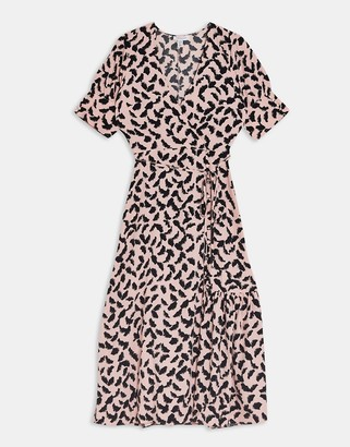 Topshop button-down wrap midi dress in pink