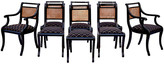 One Kings Lane Vintage Regency Caned Dining Chairs - Set of 8 - Cannery Row Home - black/gold/brown