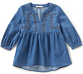 Copper Key Little Girls 4-6X Chambray Embroidered Top