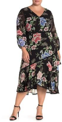 Taylor Long Sleeve Floral Chiffon Ruffled Midi Dress (Plus Size)