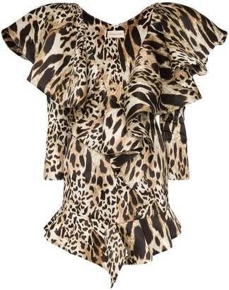 Alexandre Vauthier Animal-Print Ruffled Mini Dress