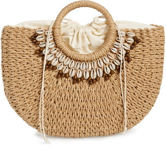 Nordstrom Shell & Bead Straw Top Handle Bag