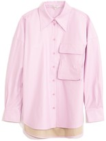 Tibi Tissue Faux Leather Relaxed Utility Blouse in Purply Pink