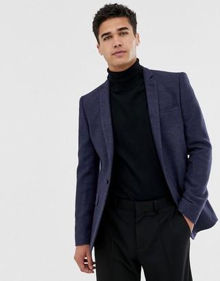 Asos Design DESIGN super skinny texture blazer in navy wool mix