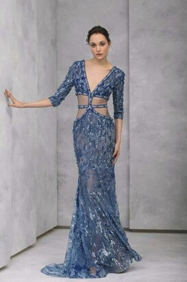 Tony Ward Mermaid-Cut Embroidered Tulle Sleeve Gown
