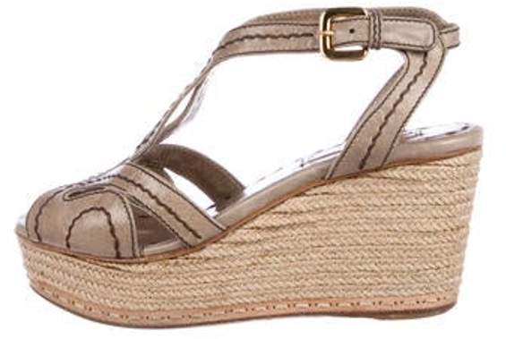 e6ed6539482 Leather Espadrille Wedges gold Leather Espadrille Wedges
