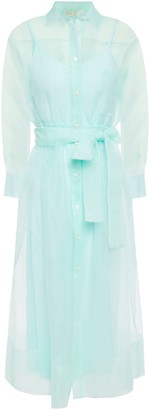 Maje Roane Belted Organza Midi Shirt Dress
