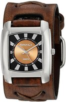 Nemesis Women's 049BFXB-N Orange Sunshine Series Faded X Leather Cuff Band Analog Display Japanese Quartz Brown Watch