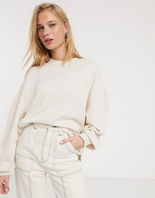 And other stories & balloon sleeve drop shoulder sweater in beige