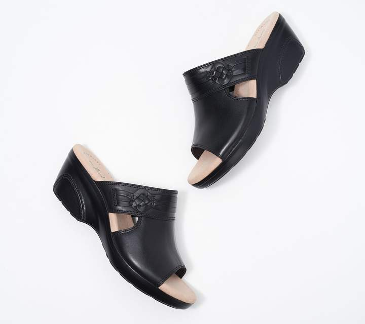 5a493a8a63 Collection Leather Wedge Slide Sandals - Lynette Trudie