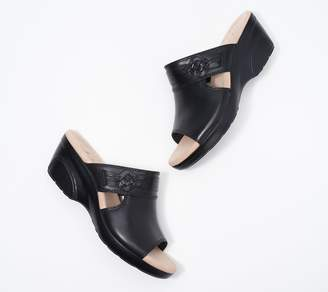 Clarks Collection Leather Wedge Slide Sandals - Lynette Trudie